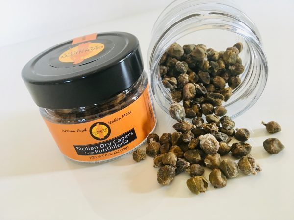 Photo of a jar of Sicilian Dry Capers of Pantelleria