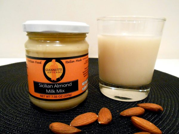 Photo of a jar of Sicilian Almond Paste used for making almond milk and gelato