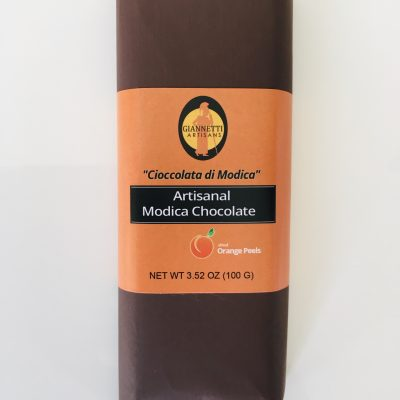 A photo of a chocolate candy bar of Modica Chocolate with Orange Peels