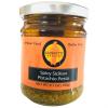 Jar of Giannetti Artisans Spicy Pistachio Pesto used as condiment for pasta